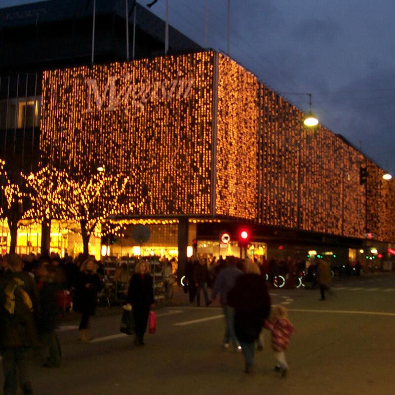 Julelys og sæson belysning på Kongens Nytorv